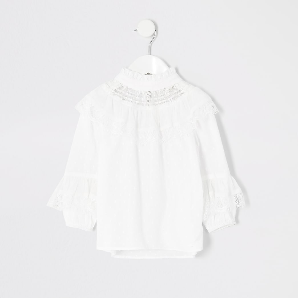 Mini girls white dobby mesh frill blouse
