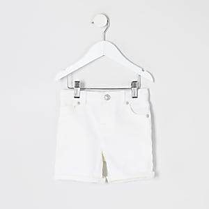 Mini boys white Dylan slim denim shorts