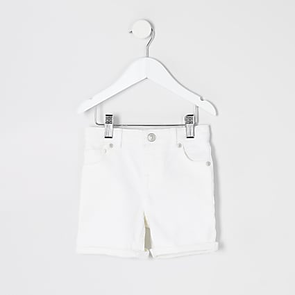 Mini boys white Dylan slim denim shorts