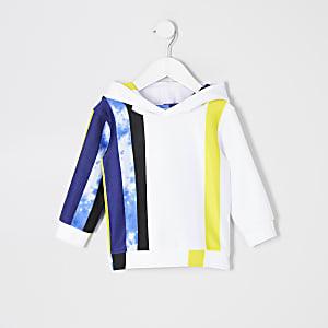 Mini boys white tie dye stripe hoodie