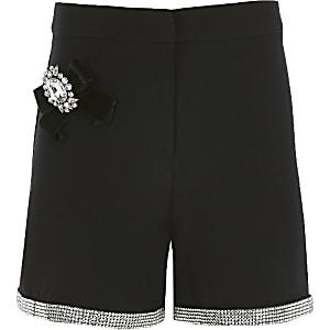 Zwarte verfraaide shorts voor meisjes