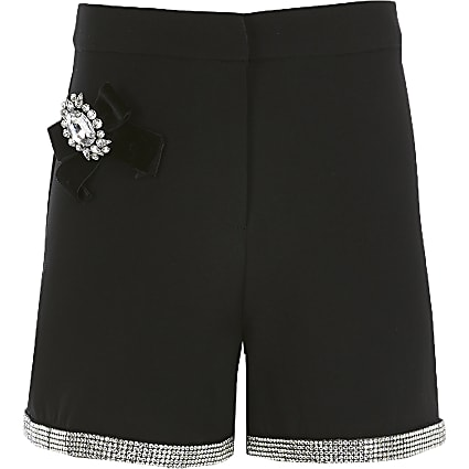 Girls black embellished shorts