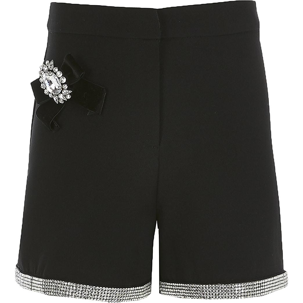 Girls black embellished shorts