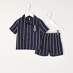 Mini -Marineblauwe gestreepte pyjama met RI-logo voor jongens