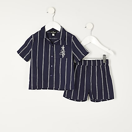 Mini boys navy stripe RI pyjamas