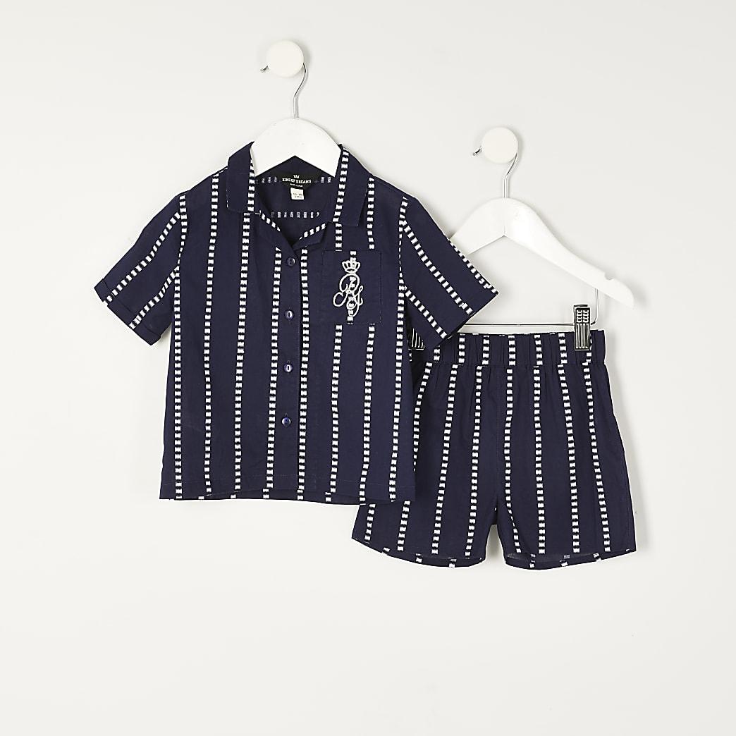 Mini boys navy stripe RI pyjamas