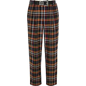 Fille – Pantalon marron à carreaux avec ceinture style western