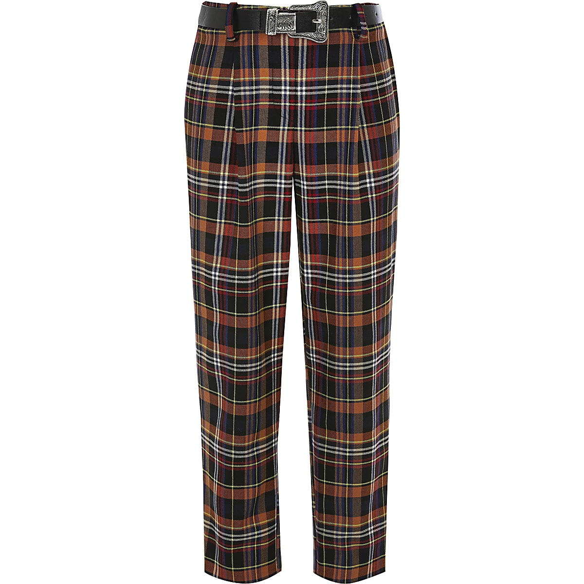 Girls brown check western belted trousers