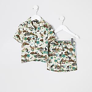 Mini - Bruine satijnen pyjama met 'Safari'-print voor jongens