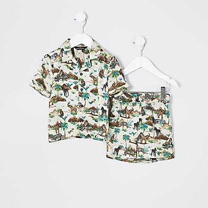 Mini boys brown 'Safari' satin pyjamas