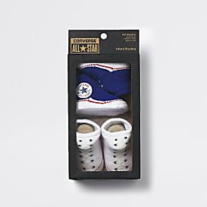 Converse - Set van 2 blauwe sock boots voor baby's