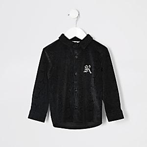Mini - Zwart velours overhemd met slangenprint voor jongens