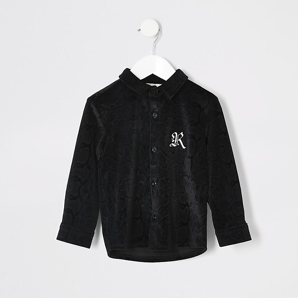 Mini boys black snake print velour shirt