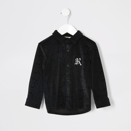 Mini boys black snake print velour shirt