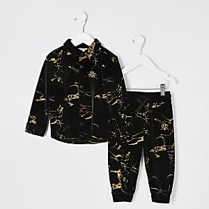 Outfit für kleine Jungen mit bedrucktem Velours-Hemd in Schwarz