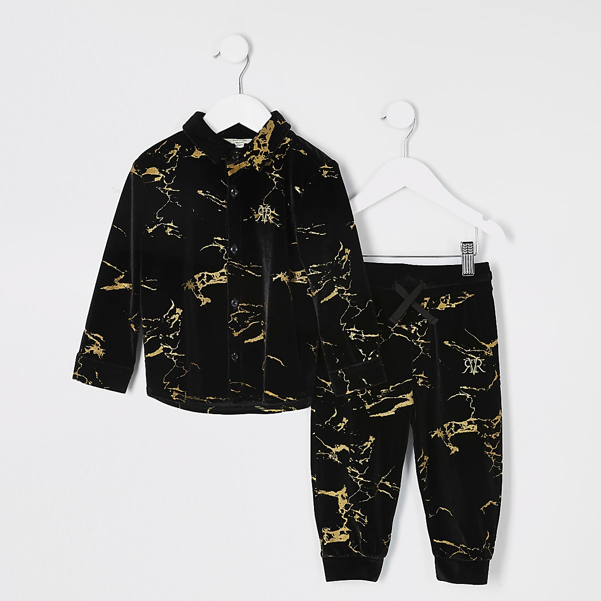 Mini boys black printed velour shirt outfit
