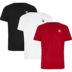 Set van 3 meerkleurige T-shirts met RVR-letters voor jongens