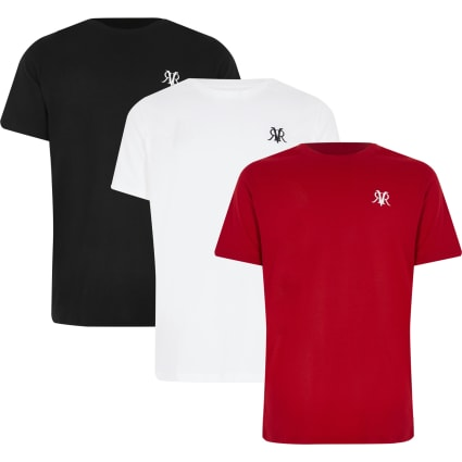 Boys white multicoloured RVR T-shirt 3 pack