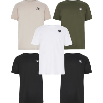 Boys khaki RVR T-shirt 5 pack