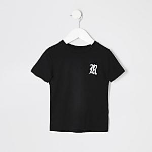 Mini boys black R chest embroidered T-shirt