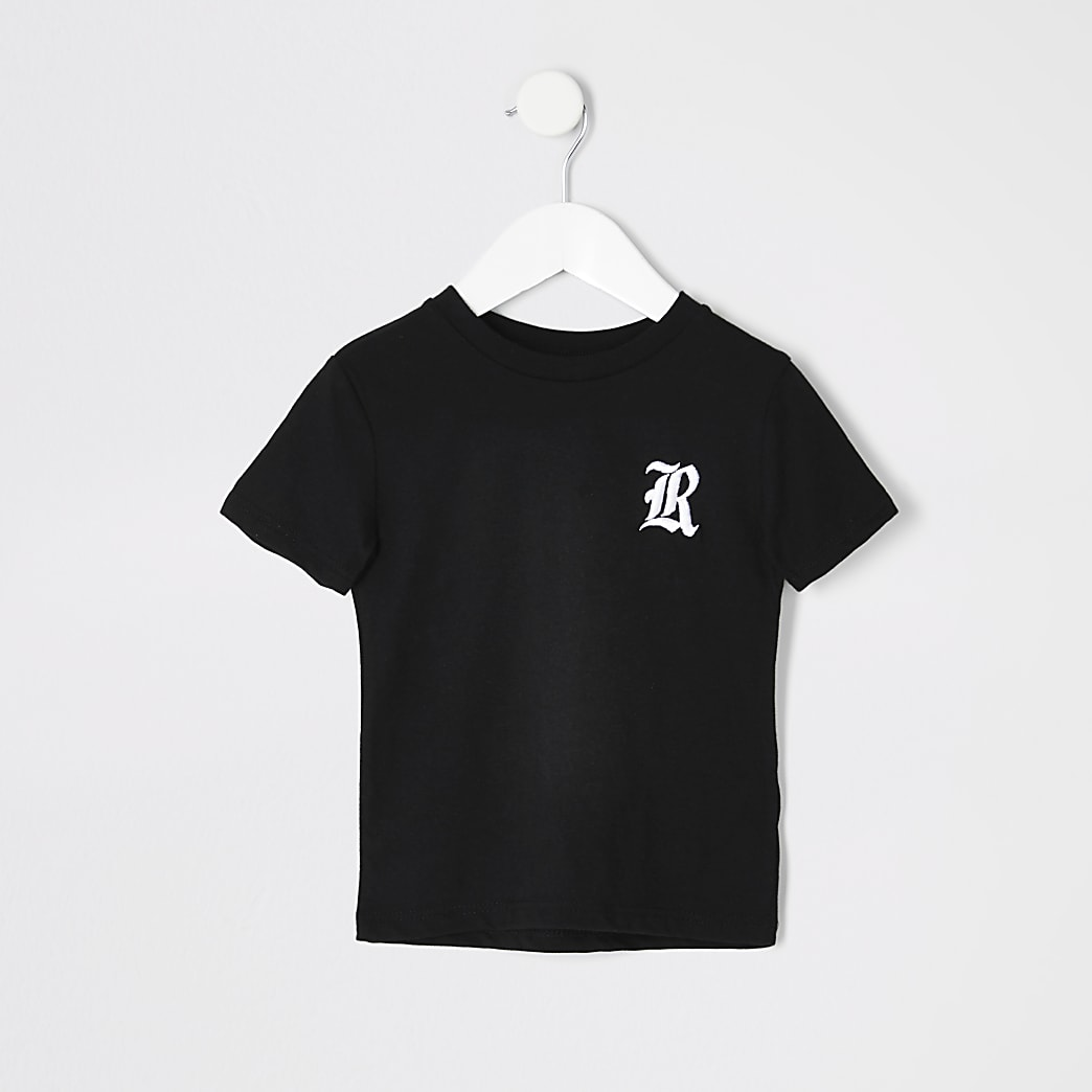 Mini boys black R chest embroidered T-shirt