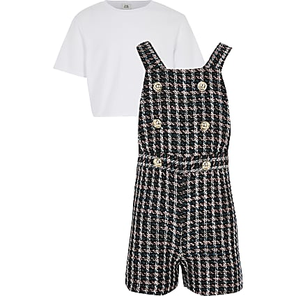 Girls navy boucle pinafore playsuit outfit