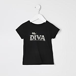 T-shirt noir« Mini Diva » Mini fille