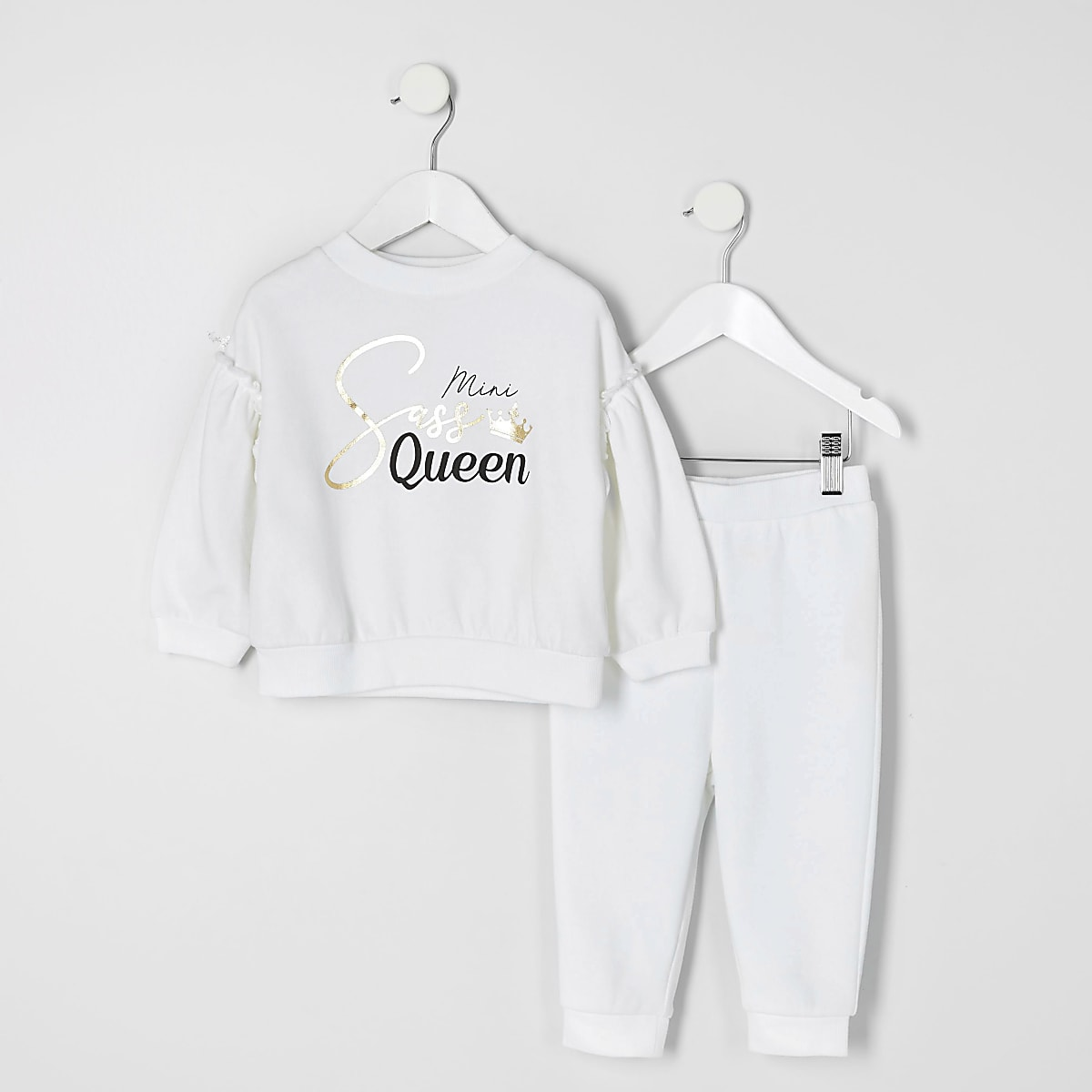 Mini girls white 'Sass Queen' outfit