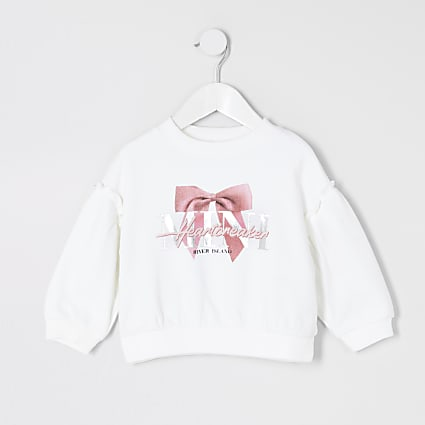 Mini girls white 'Heartbreaker' sweatshirt