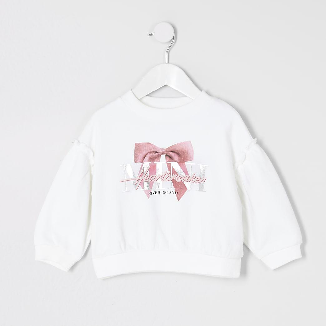 Mini - Witte sweater met 'Heartbreaker'-print voor meisjes