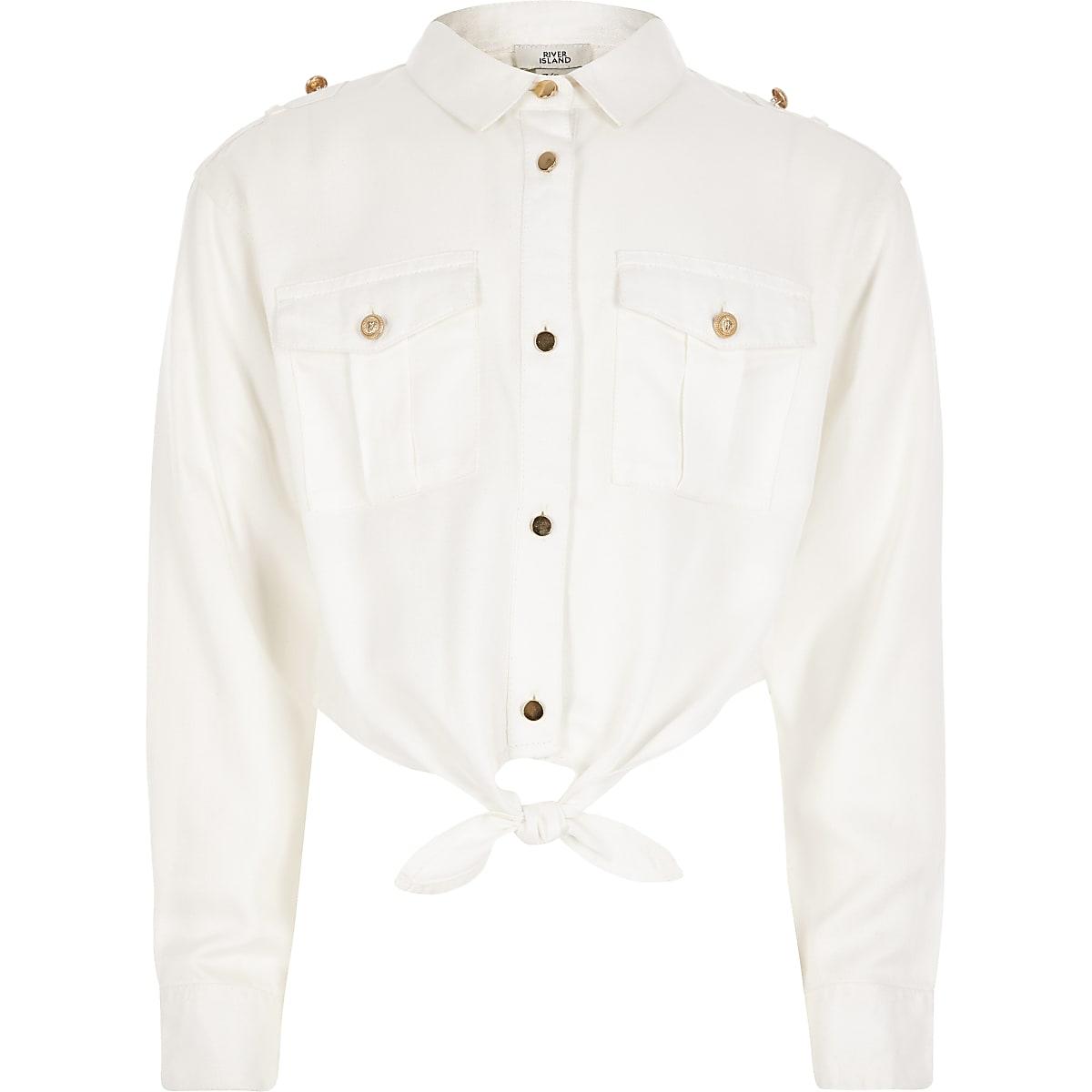 Girls white tie front military shirt