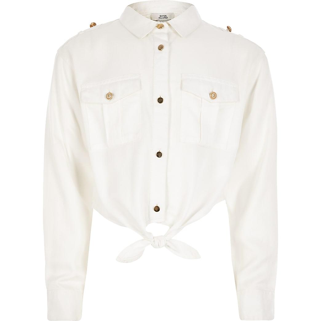 Wit overhemd in legerlook met strik voor meisjes