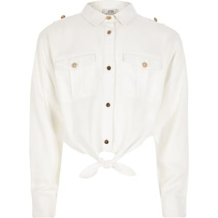 Girls white tie front military shirt