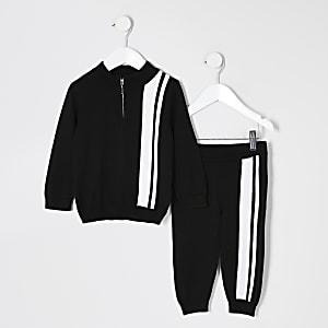 Mini - Zwart gebreid trainingspak outfit met strepen voor jongens