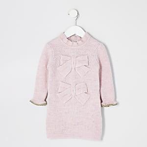 Mini - Roze trui-jurk met strik voor meisjes