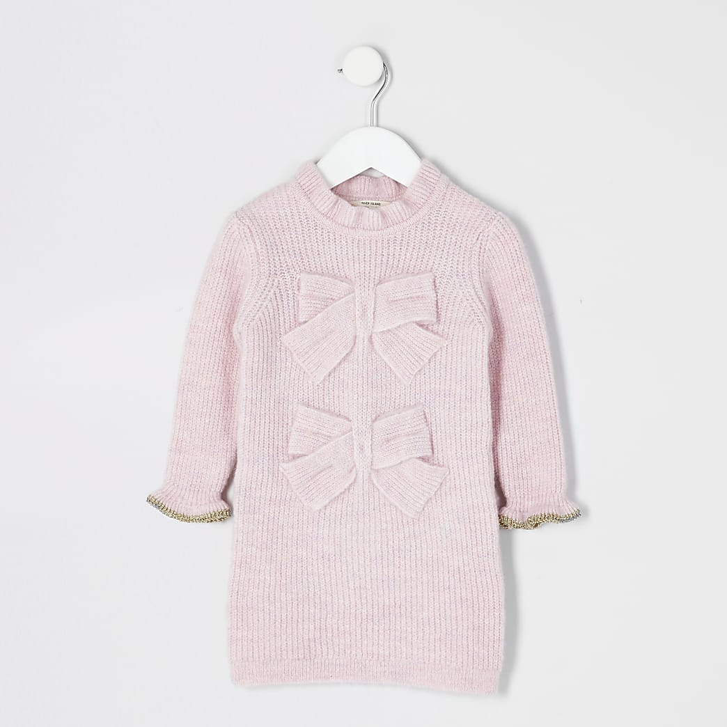 Mini girls pink bow front knitted dress