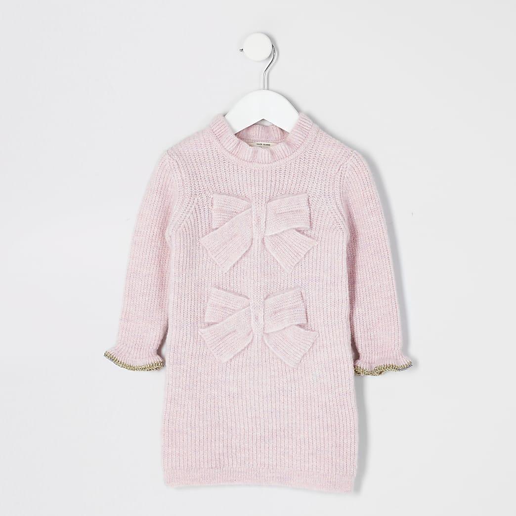 Mini– Pinkes Pulloverkleid mit Schleife vorne für Mädchen
