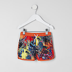 Short de bain orange imprimé tropical Mini garçon