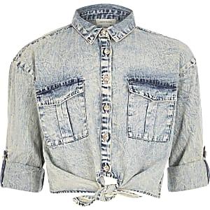 Blauw acid wash denim overhemd met strik voorop voor meisjes