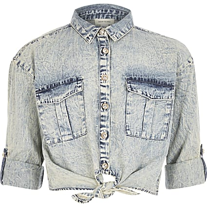 Girls blue acid wash tie front denim shirt