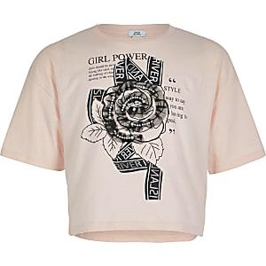 T-shirt court rose avec rose ornée pour fille