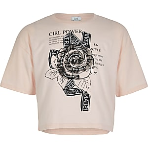 Roze cropped T-shirt verfraaid met roosprint voor meisjes
