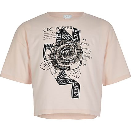 Girls pink rose embellished cropped T-shirt