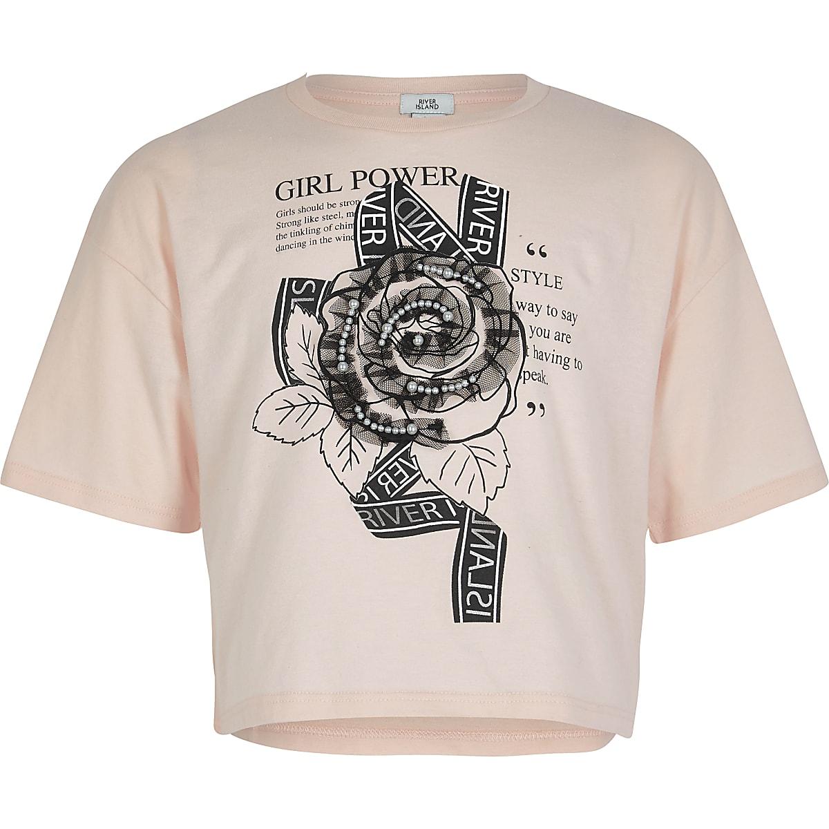 Girls pink rose embellished cropped T-shirt