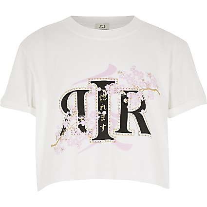 Girls white RI flower printed crop top
