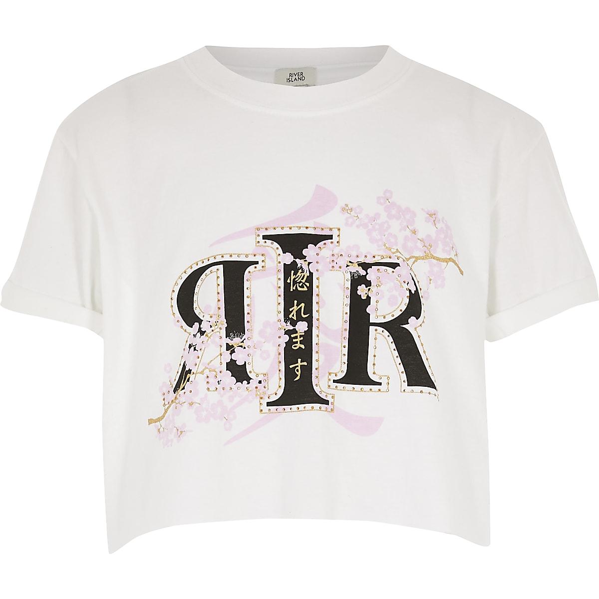 Witte crop top met RI- en bloemenprint voor meisjes