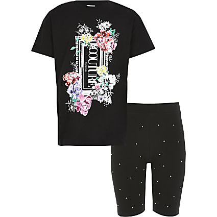 Girls black printed oversized T-shirt outfit