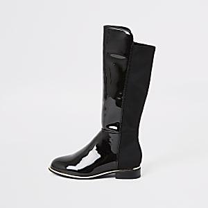 Kniehohe Lackstiefel in Schwarz für Mädchen