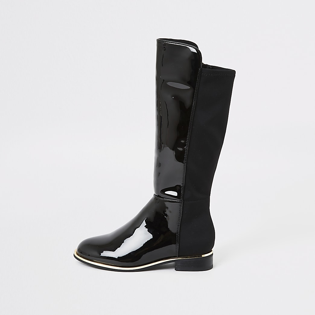 Girls black patent knee high boots