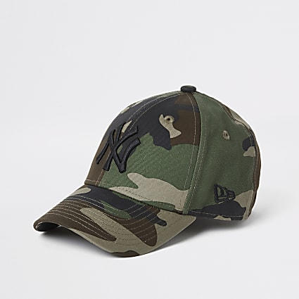 Boys New Era NY khaki camo cap